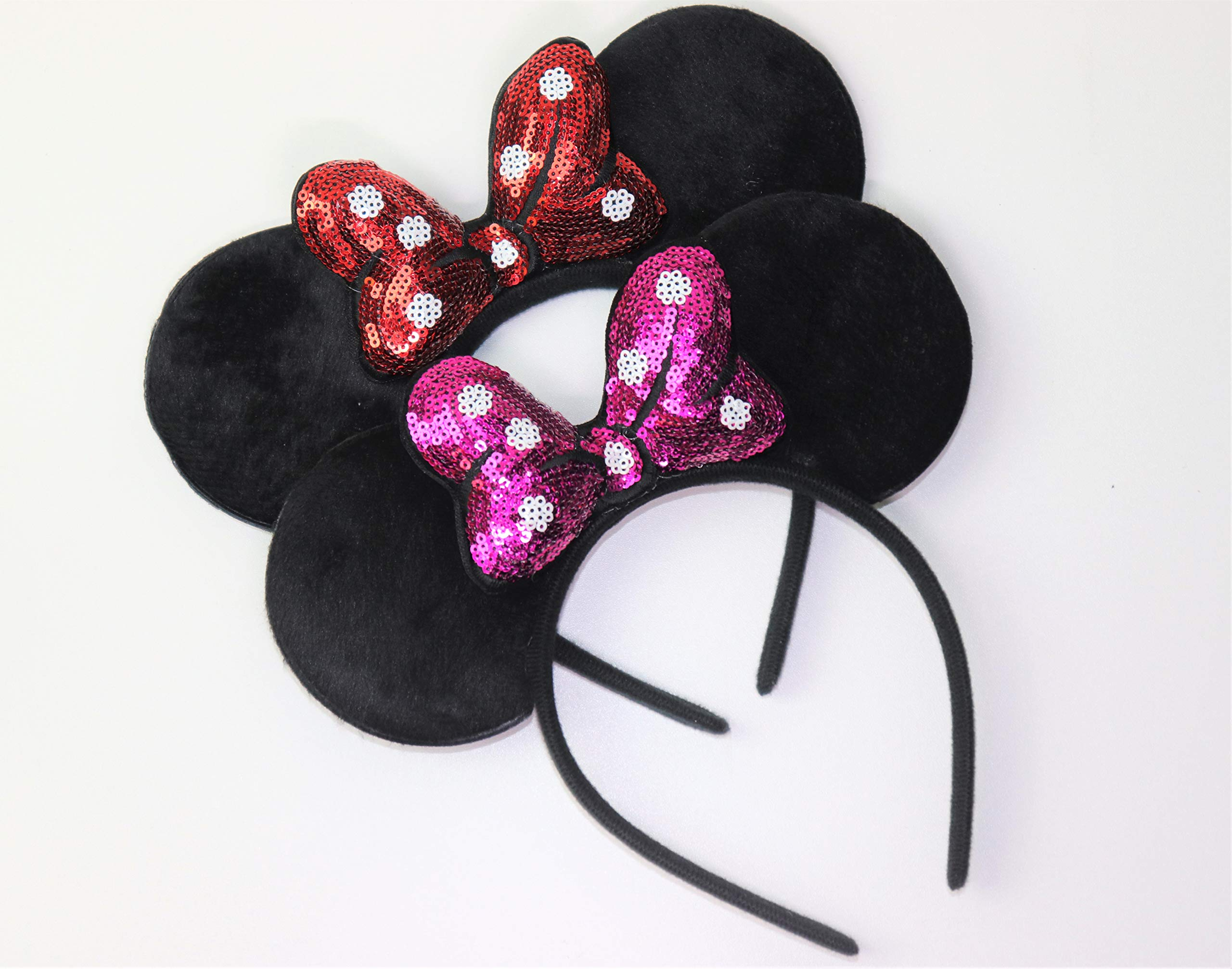 Mickey/Minnie Mouse Style Ears Boys, Girls, Children, Adults, Halloween (Puffy Sparkling Sequin (1 Red, 1 Fuchsia))