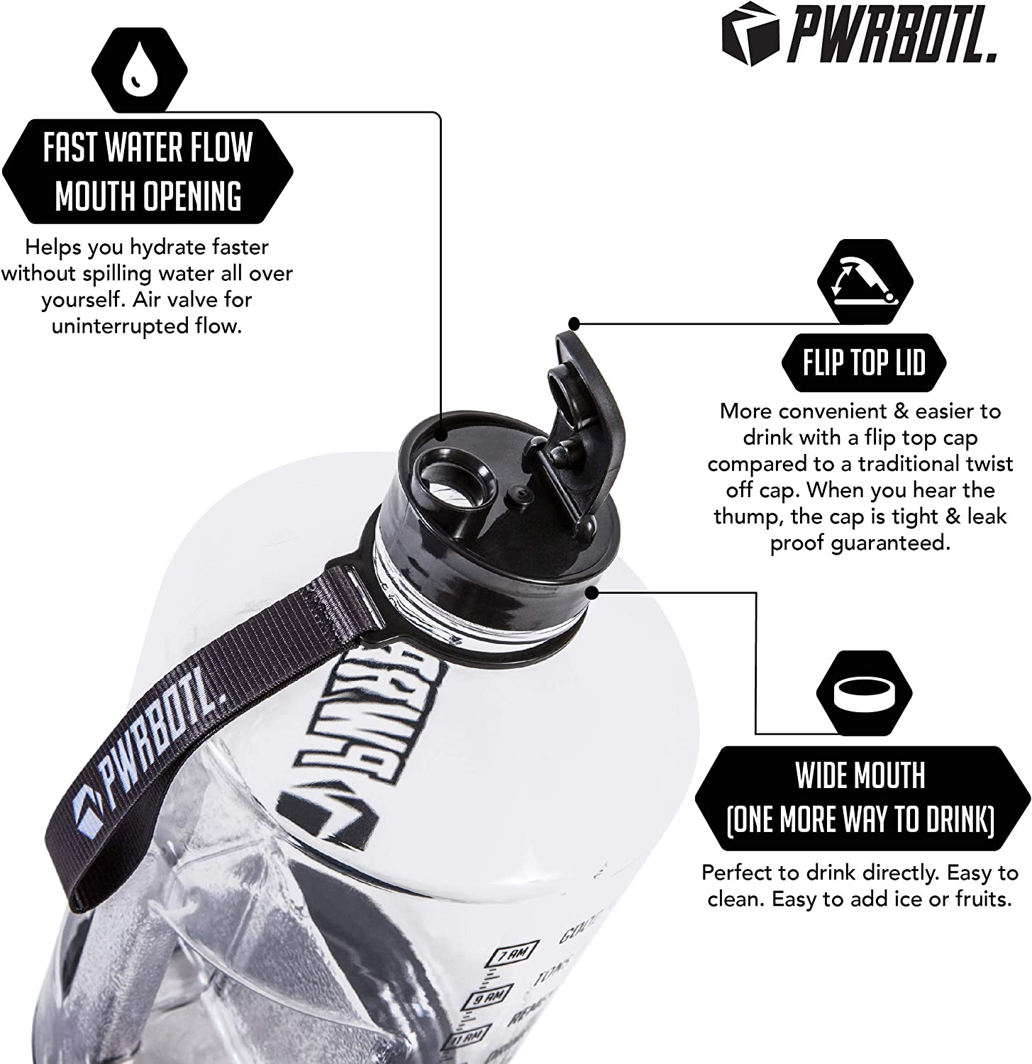 Drop Resistant PWRBOTL 1 Gallon Water Bottle with Time Marker Large BPA Free Jug Water Gallon Bottle//Gallon Water Jug Helps You to Drink More Water 128 oz Leak Proof Motivational Water Bottle