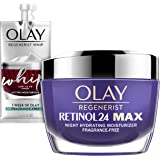 Olay Regenerist Retinol 24 Max Moisturizer, Retinol 24 Max Night Face Cream, Oz + Whip Face Moisturizer Travel/Trial Size Gif