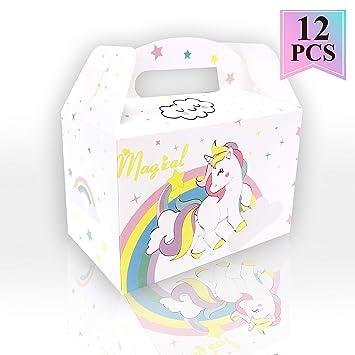 12pcs White Cute Unicorn Gift Party Treat Favor Boxes For Unicorn Theme Birthday Parties Supplies