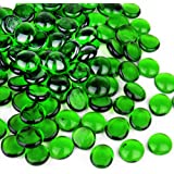 CYS EXCEL Green Glass Gemstone Beads Vase Fillers (Pack of 1 LB, Approx. 100 PCS)   Multiple Color Choices Flat Marble…
