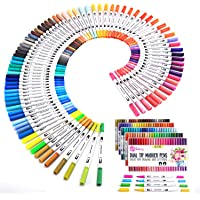 K&M 100 Dual Tips Art Markers- Watercolour Brush Pens, Water-Based highlighters for Colouring, Drawing, Highlighting and…
