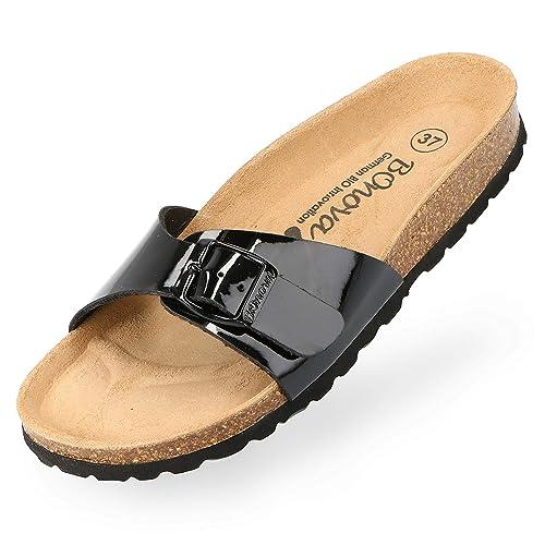 neueste Kollektion ungleich in der Leistung großer Verkauf BOnova Damen Pantoletten Teneriffa in 10 Farben, modischer Einriemer mit  Korkfußbett - komfortable Sandalen zum Wohlfühlen - hergestellt in der EU