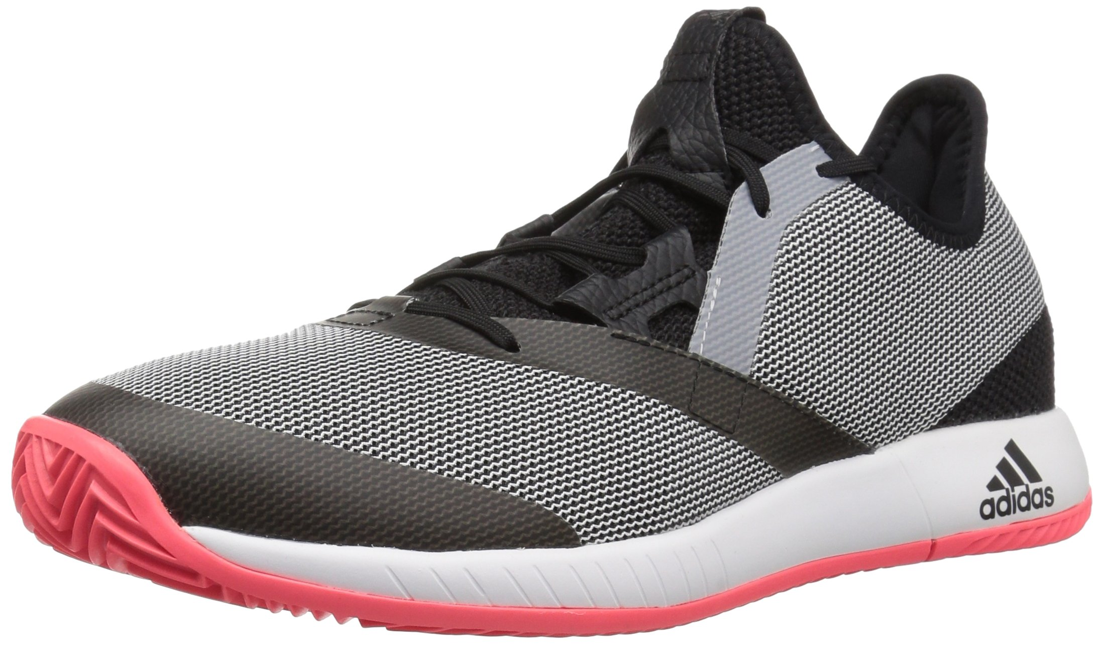 adidas Men's Adizero Defiant Bounce Tennis Shoe, Black/White/Flash red, 7 M US