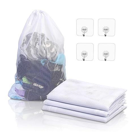 KATOOM Bolsas de lavandería de Malla Grande 4pcs Red de Ropa para Lavadora con Cierre de cordón Saco a Proteger Ropa Interior Camisetas Jeans Ropas de ...