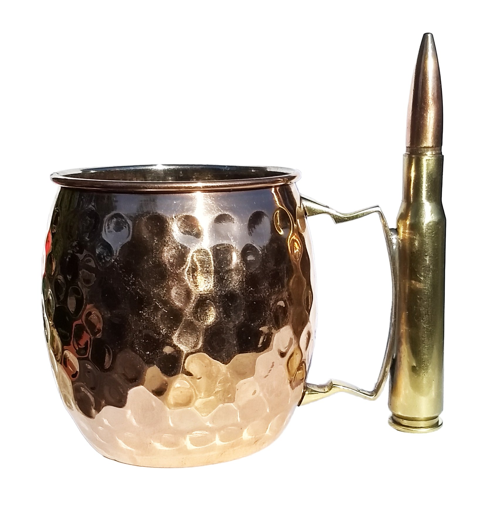 The Full Metal Mule- Moscow Mule copper Mug With A Real Bullet Handle | Great Mug For Men Or Women