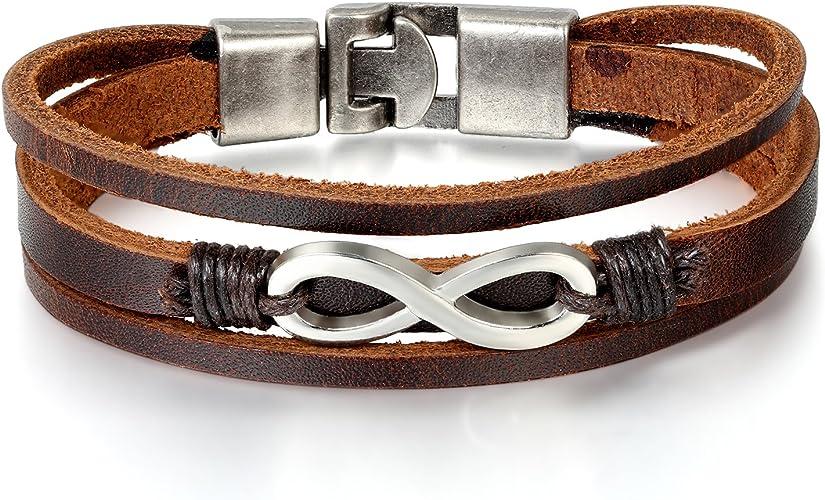 LEDERARMBAND Damen  ECHT LEDER Frauen Armband schwarz silber Wickelarmband Nr.3