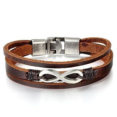 Lederarmband für damen  JewelryWe Schmuck Herren Damen unendlichkeits Armband, Geflochten ...