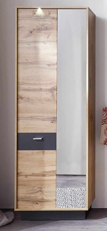 trendteam smart living Garderobe Gardrobenpaneel Wandpaneel Coast, 84 x 128 x 25 cm in Wotan Eiche Dekor, Absetzung Grau mit 1 Kleiderbügel, einer Kleiderstange und 3 Kleiderhaken trendteam GmbH & Co. KG 174744083
