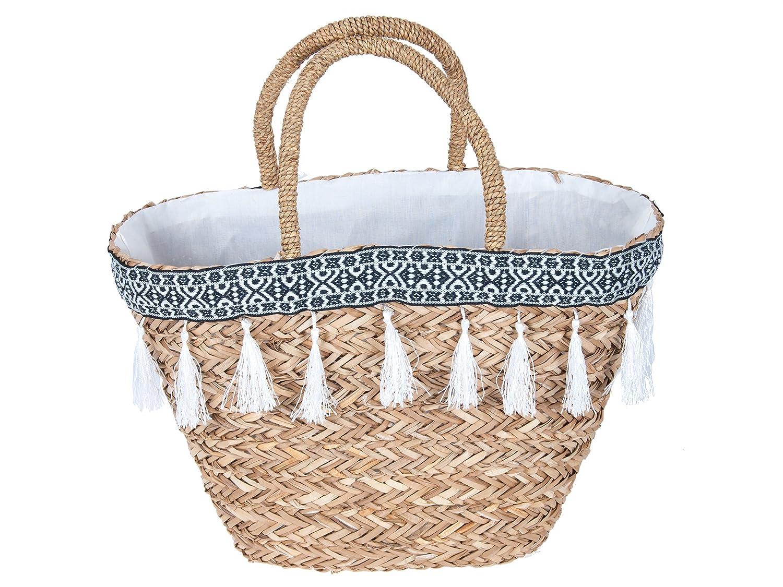 Profisparen Korbtasche Maya aus Seegras im Ibiza - Stil, Black&White, Einkaufstasche, Strandkorb, Urlaubsbegleiter (schwarzes Innenfutter)