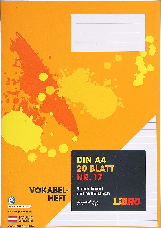 LiBRO Schulheft Heft Vokabelheft Orange A4 4 x 9mm hochkariert 40 Blatt