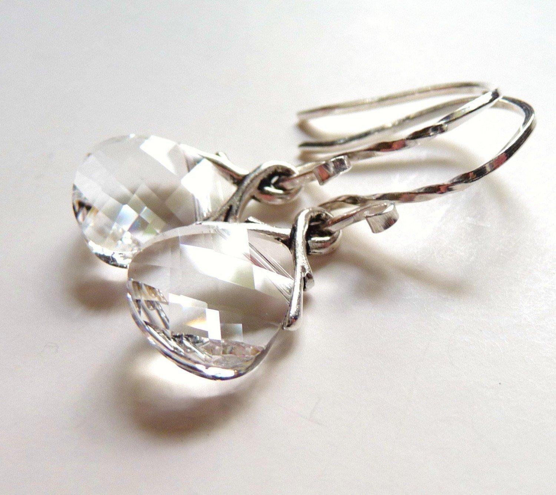 1dca4f587c795 Swarovski Clear Crystal Earrings, Ice Clear Glass Briolettes, Sterling  Silver, Teardrop Earrings