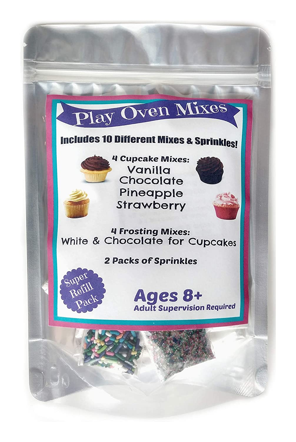 Children's Easy to Bake Oven Mixes Play Toy Real 10 Cupcake Super Pack Mega Refill Kit Vanilla Chocolate Strawberry Pineapple Frosting Sprinkles Ultimate Set Cooking Baking Supplies Net Wt 6.4 oz
