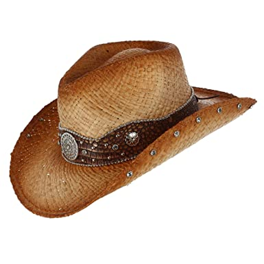 bf140d01 Kenny K Distressed Woven Raffia Western Hat with Vegan Leather Hatband at Amazon  Women's Clothing store: