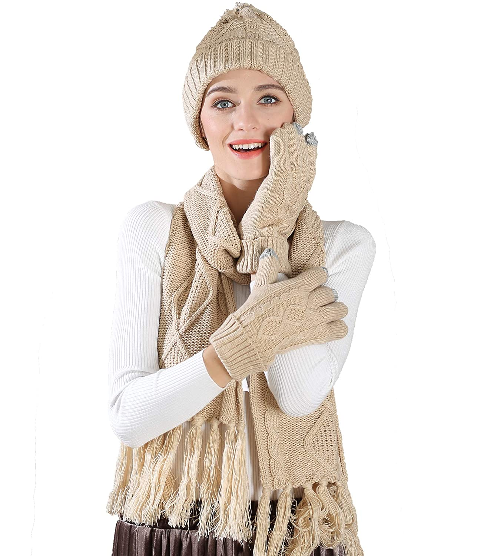 Chloria tejer gorro, bufanda y guantes Set Mujeres Hombres niña ...