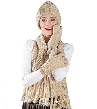 48b208698cf93b Stricken Mütze Schal Handschuhe Set-Frauen Männer Unisex Zopfmuster Winter  kaltes Wetter Geschenkset (Beige