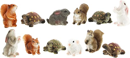 Distinctive Designs Set of 12 Assorted Mini Fairy Garden Figurines 4 Rabbits, 4 Squirrels, 4 Turtles