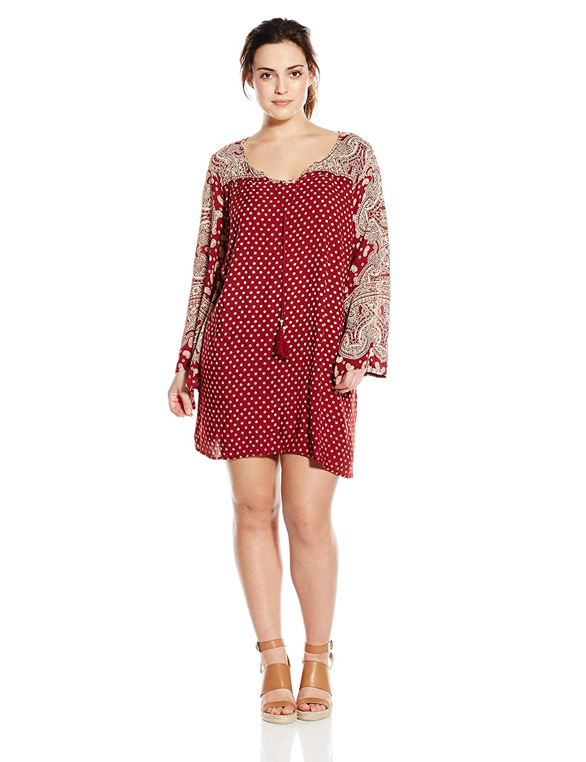 Angie Women's Juniors Plus-Size Red Printed Bell-Sleeve Dress Angie Juniors F9179-A485