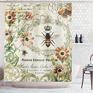 AMBZEK Vintage Bee Shower Curtain Blooming Wild Flower Floral Country French Garden Queen Rustic Nature Artwork Cloth Fabric Bathroom Decor Set with 12 Pack Hooks 60x71 Inch, Beige Green