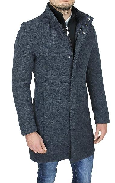 Cappotto Uomo Sartoriale Casual Elegante Slim Fit Giaccone Soprabito Invernale con Gilet Interno