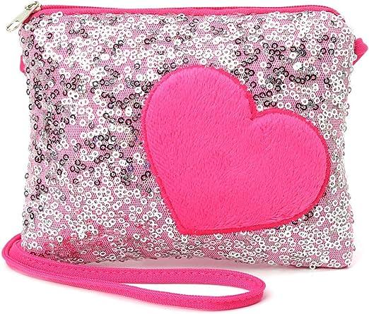 Mini Shoulder Bag Children Kids Girls Sequin Heart Messenger Handbag Purse Gifts