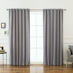"Best Home Fashion Premium Thermal Insulated Blackout Curtains - Back Tab/Rod Pocket - Grey - 52"" W x 120"" L - Tie Backs Included (Set of 2 Panels)"