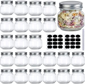 Mason Jars, Catsayer 24Pack Premium Glass 8oz Canning Jars with Lids Wide Mouth Spice Storage for Honey Caviar Jelly Jams Baby Foods Wedding Favors