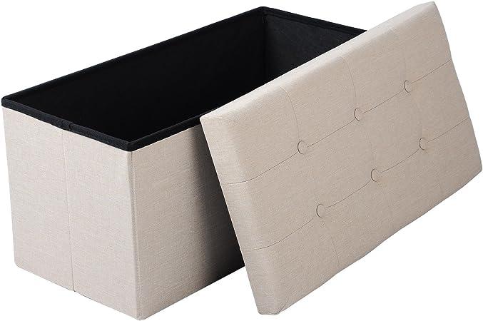 eSituro Taburete Asientos Reposapiés Zapato para Zapatos Reposapiés Banqueta Cubo con Espacio de Almacenamiento Caja de Almacenamiento con Tapa, Lino extraíble, Crema SOM0015: Amazon.es: Hogar