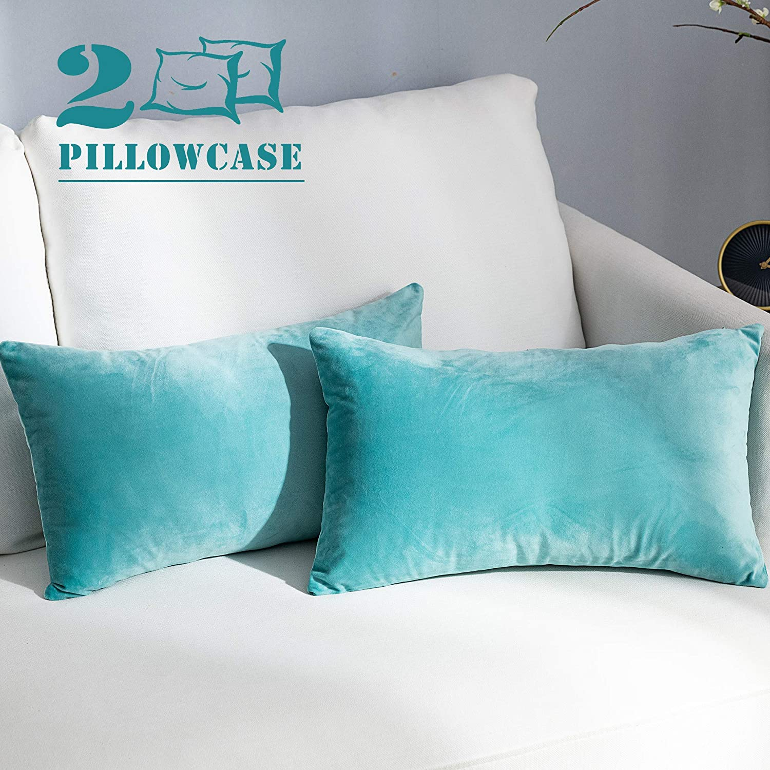NANPIPER Set of 2 Velvet Soft Decorative Cushion Throw Pillow Covers 12x20 Inch/30x50 cm Cozy Solid Velvet Square Pillowcase Cushion Covers Cyan for Couch and Bed
