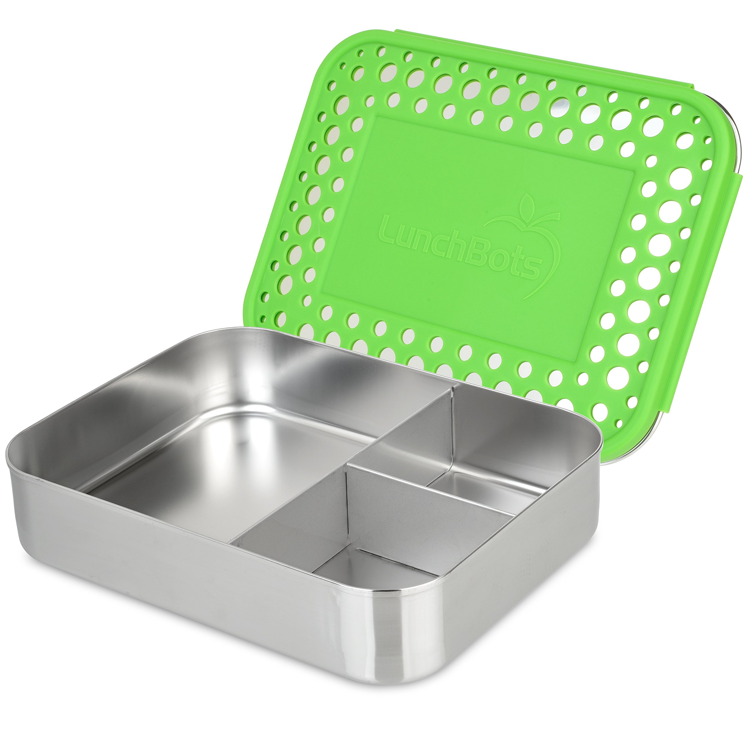 LUNCHBOTS Bento Trio Large Three Section Container Green Dots, 1 Each