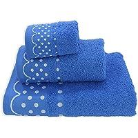 Acomoda Textil - Juego 3 Toallas de Baño 100% Algodón. Toalla Rizo con Cenefa Lunares 500 gr/m2. Pack 3 Toallas, Sábana…