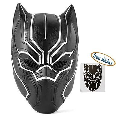 trippy lights new black panther movie latex halloween costume overhead mask helmet