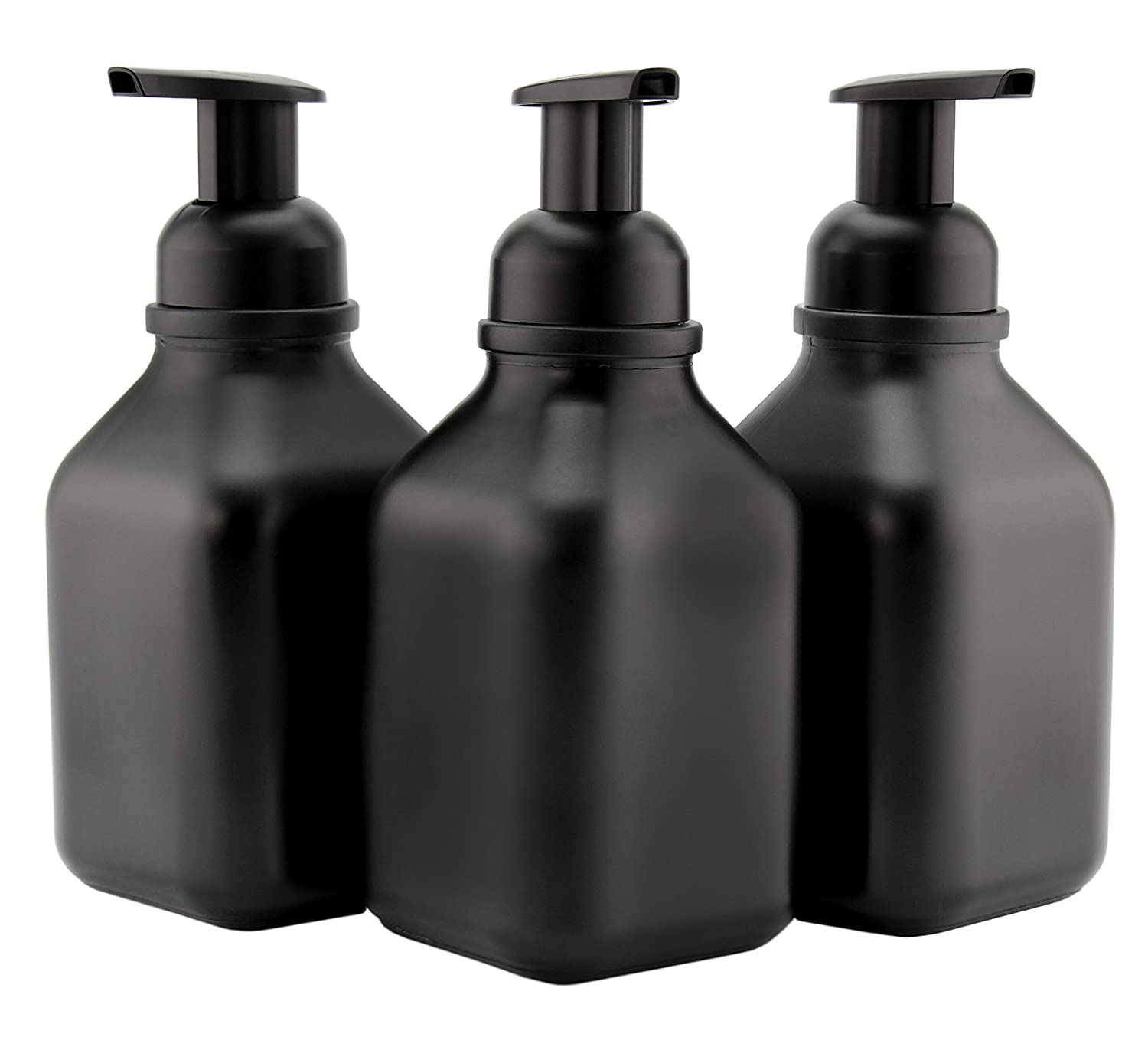 Cornucopia Brands Square Foaming Soap Dispensers (3-Pack, Black-Coated Bottle w/Black Pump), 16-Ounce Capacity