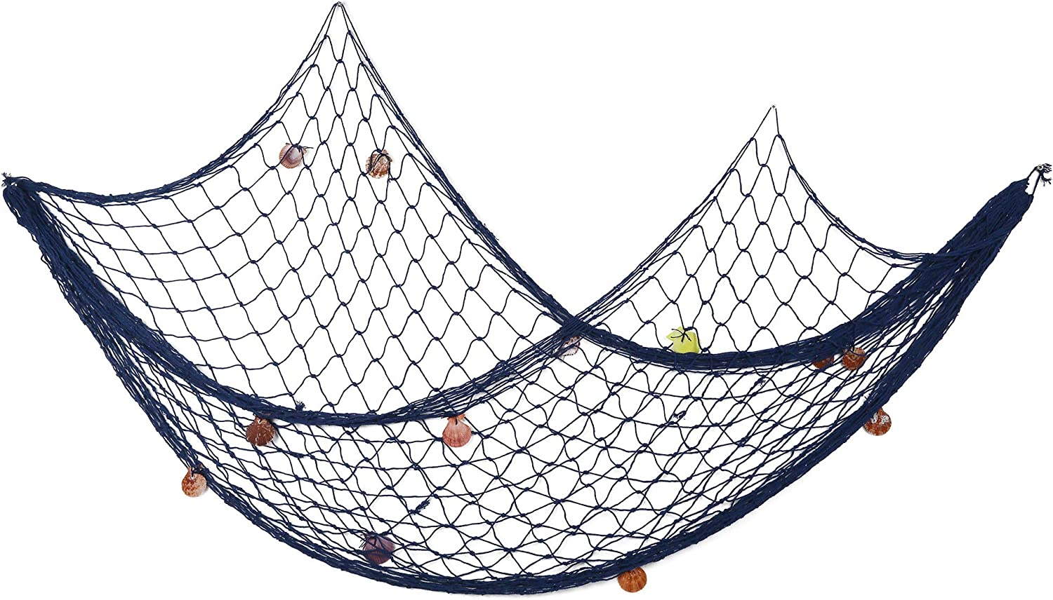 Febou Fishing Net Decor Decorative Fish Net with Sea Shells Nautical Wall Hanging Fish Netting Beach Theme Decoration for Party Bathroom Home (Blue, 79inch x 59inch)