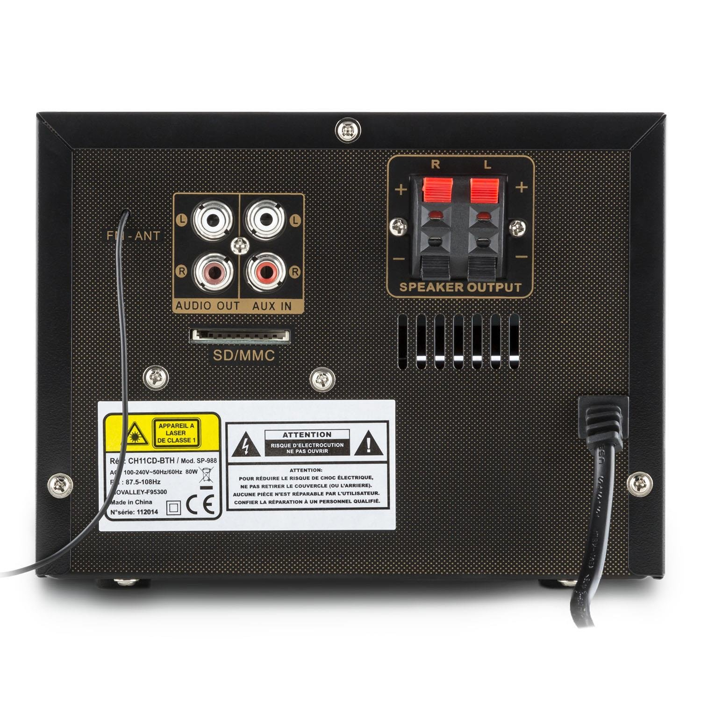 Inovalley CH11CD-BTH Sistema de audio Bluetooth (Reproductor CD, puerto USB, entrada SD MP3, radio FM, conexión AUX, mando a distancia, altavoces bass ...