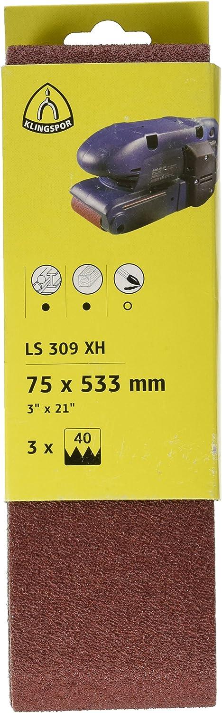 75 x 533 mm KLINGSPOR Schleifb/änder f/ür Handbandschleifer SB-Verpackt LS 309 XH 3 St/ück 7018 korn 40