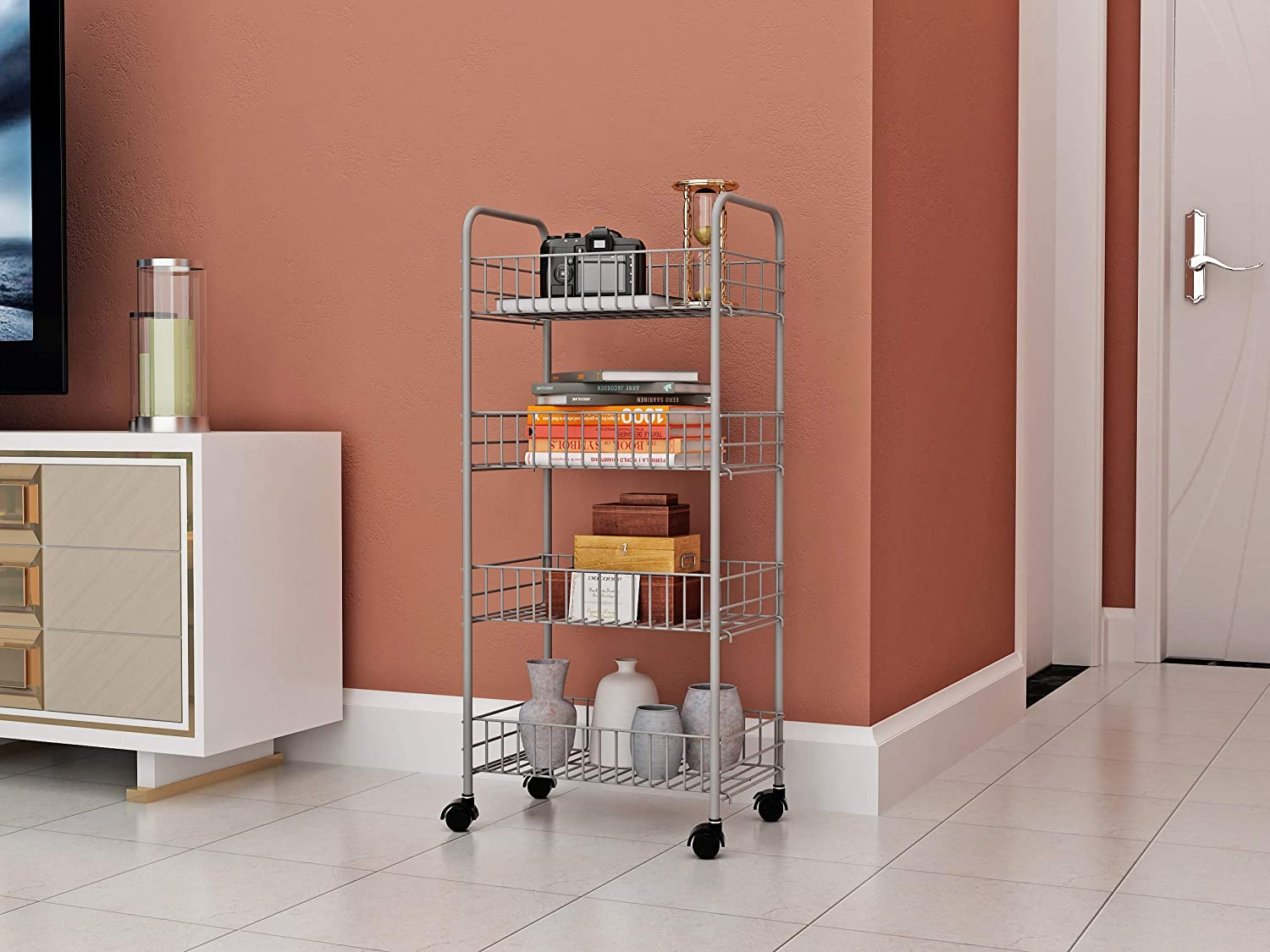 Homebi Kitchen Trolley Rolling Cart 4 Tier Metal Jacobsen Golf Wiring Diagram Storage Rack Shelving Units With Wire