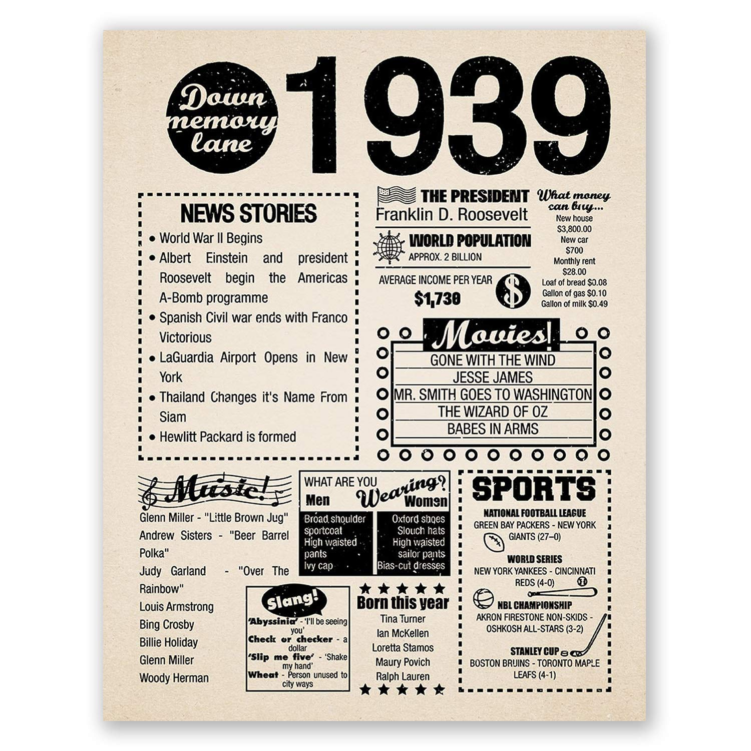 8x10 1939 Birthday Gift //// Back in 1939 Newspaper Poster //// 80th Birthday Gift //// 80th Party Decoration //// 80th Birthday Sign //// Born in 1939 Print