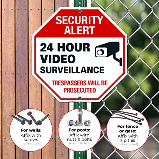 Prosecute Security Offenses Landscape Waterproof for Indoor /& Outdoor Use 10x7 Safety Sign Wall Decal Vinyl Security Notice