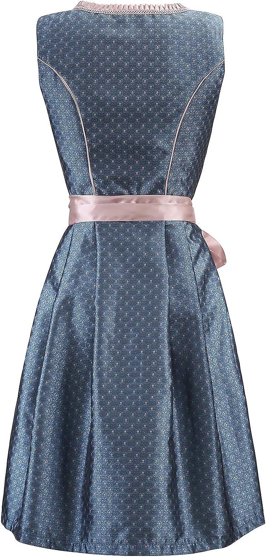Spitzensch/ürze Gr.34-48 ELFIN Damen Trachten Elegante Dirndl Blau Midi Trachtenkleid f/ür Oktoberfest inkl