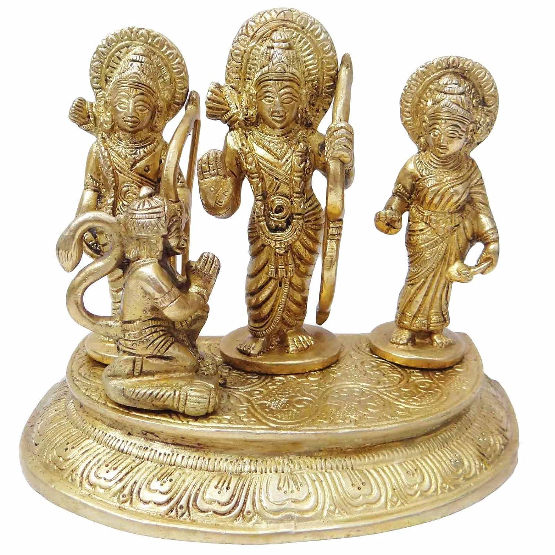 Lord Ram 's Parivar Sculptureゴールド真鍮メタルFigurine Rare Religiousインディアンアート