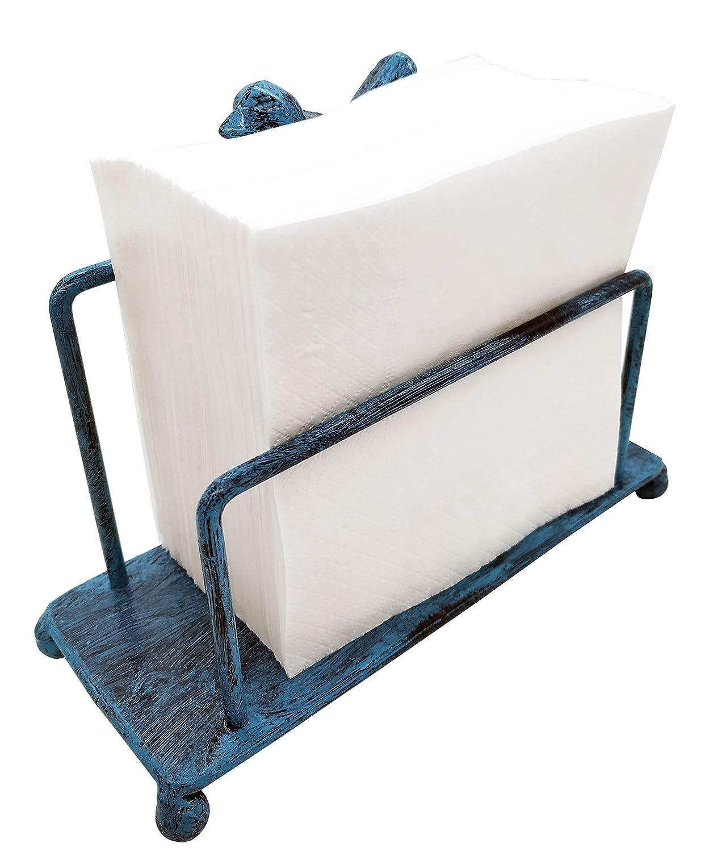 Black Metal Bird Napkin Holder for Kitchen Counter Tops w//Freestanding Tissue Dispenser