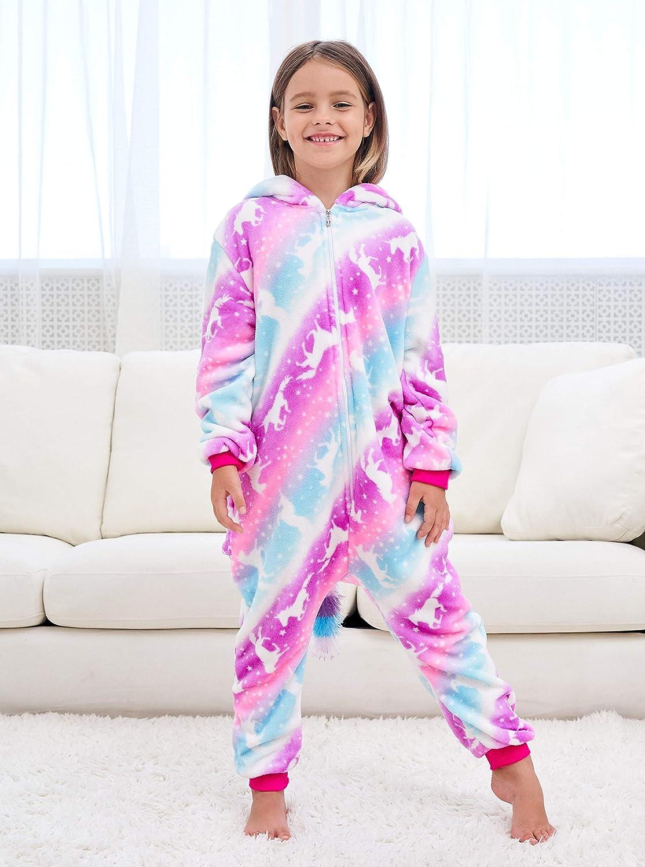Soft Unicorn Hooded Pajamas Onesie Costume for Girls