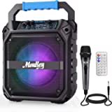 """Moukey Karaoke Machine, 6.5"""" Portable Microphone with Lights, Bluetooth Mic System with Wired Microphone, Rechargeable…"""