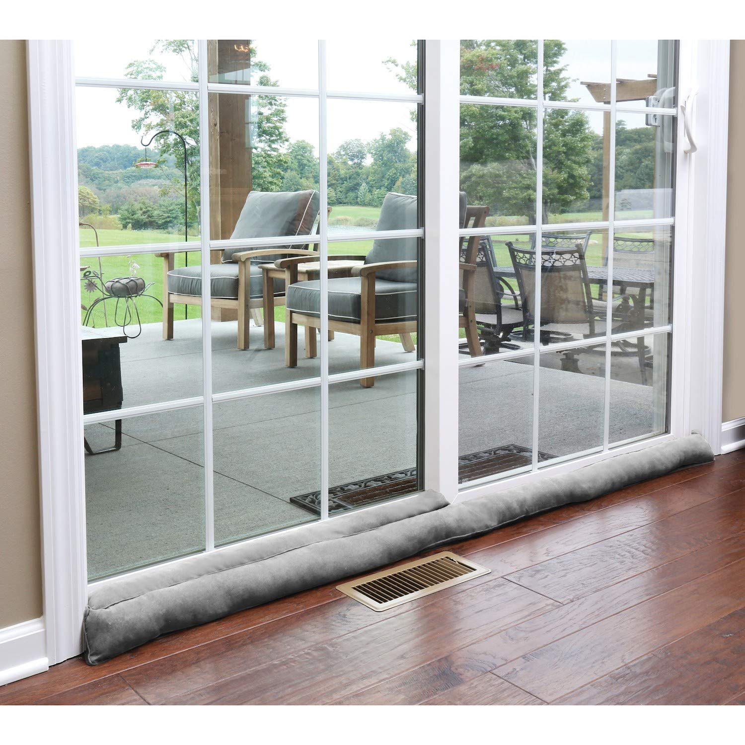 HOME DISTRICT Sliding Door Draft Dodger - Weighted Patio Breeze, Bug, Noise Guard - 71.5'' Long - Gray