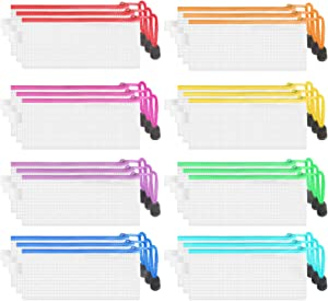 JARLINK 24 Pack 8 Colors Zipper Mesh Pouch, Waterproof File Storage Bags, Multipurpose for Organizing Office Supplies Cosmetics Travel Accessories