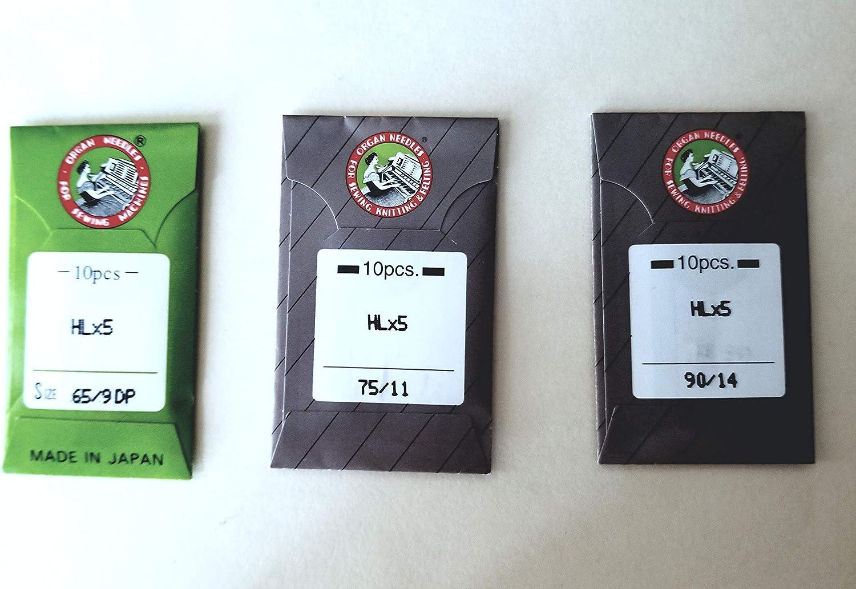 Organ HL X 5 Needles for Juki TL2000QI TL2010Q Janome 1600P and Janome 1600P-QC Machines Size 65//9 by Organ TL98 Series