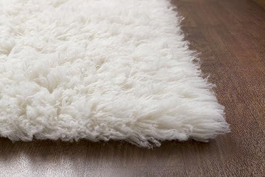 white wool shag rug