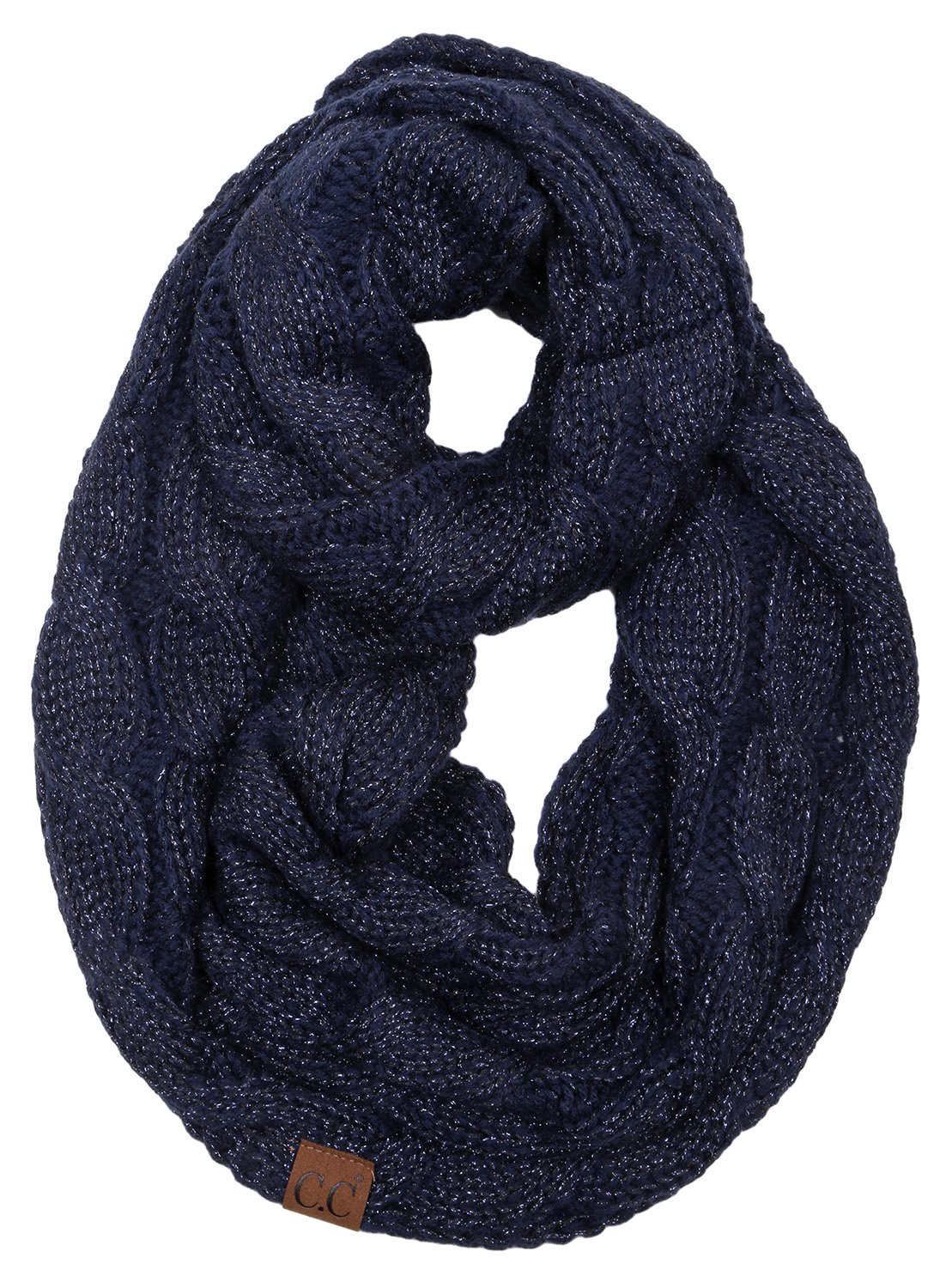 Funky Junque's C.C Beanies Matching Ribbed Winter Warm Cable Knit Infinity Scarf 1 Solid Mel Grey (2 Pack) S1-6100-2-6066-FJ