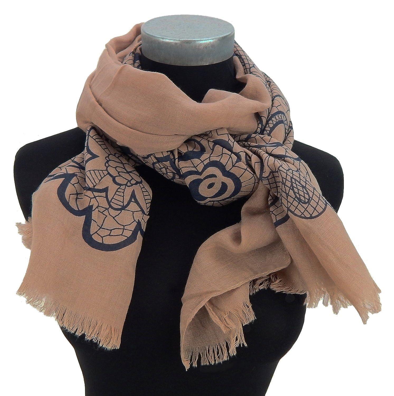 Ella Jonte womens scarf brown black floral print